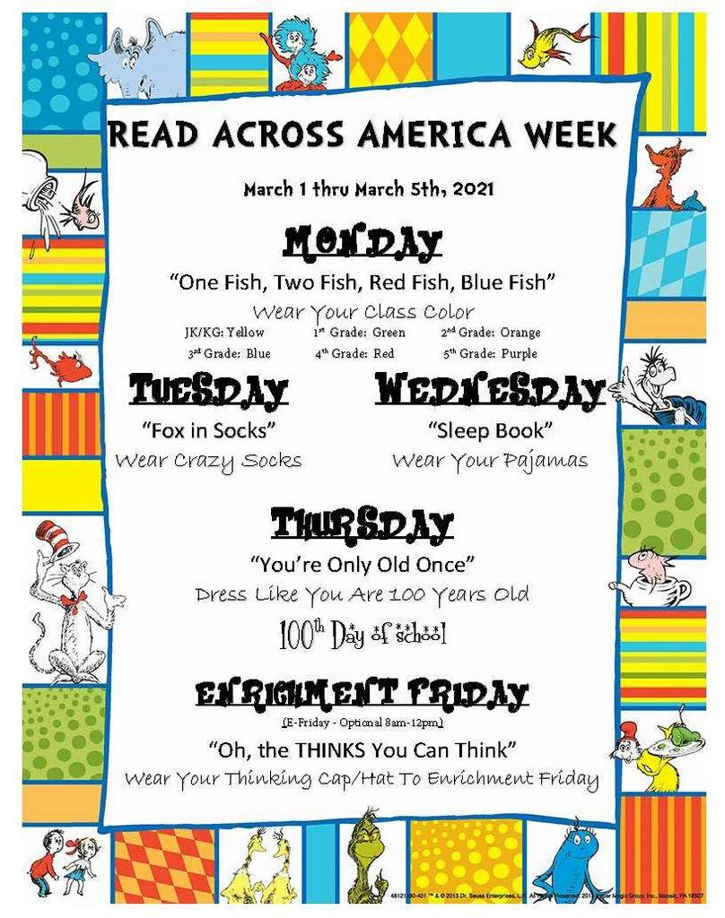 Read Across America Week March 1 - March 5